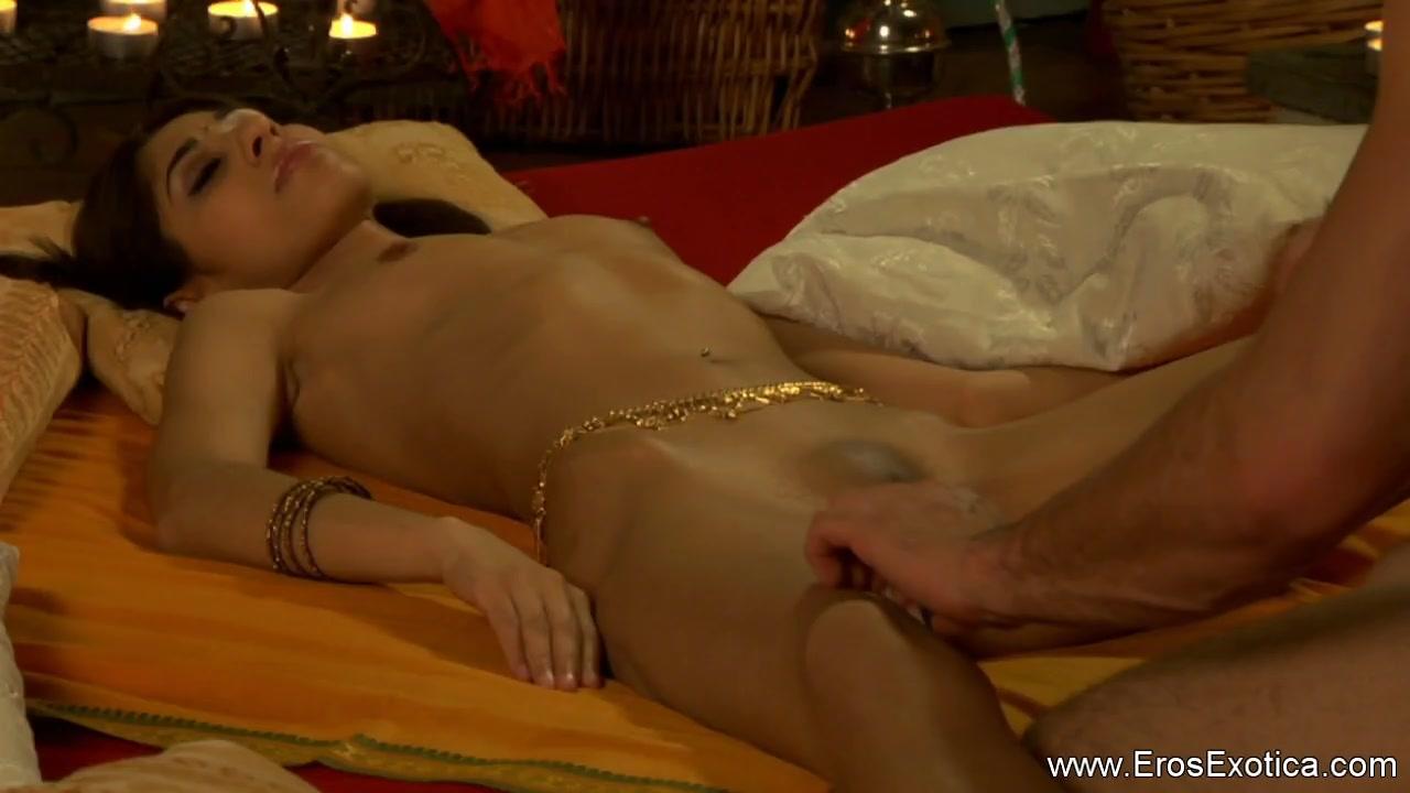 Massaging girls barefoot naked