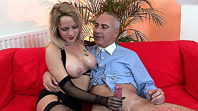 Busty blonde mature works magic with those fine hands